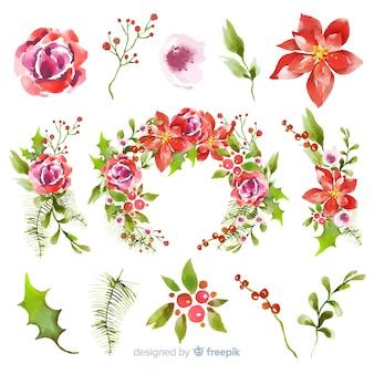 Collection aquarelle de fleurs et couronnes de noël