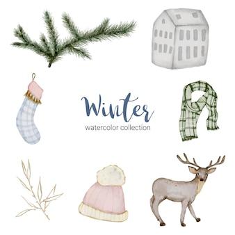 Collection d'aquarelle d'hiver avec des articles pour un usage domestique et des cerfs