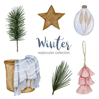 Collection d'aquarelle d'hiver avec des articles pour un usage domestique.
