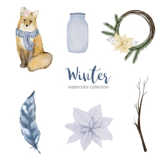 Collection d'aquarelle d'hiver avec des articles à usage domestique et renard