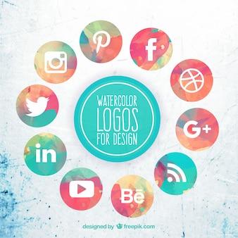 Collection d'aquarelle icônes de médias sociaux