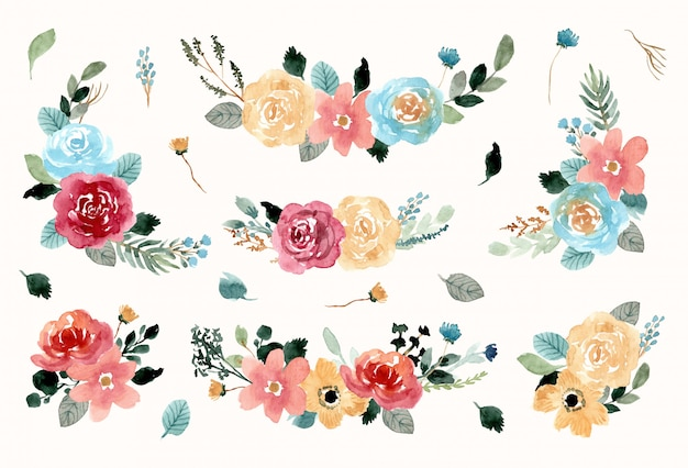 Collection aquarelle de jolies compositions florales