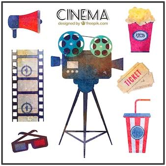Collection d'aquarelle matériel de cinéma