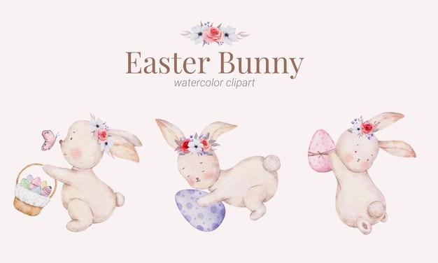 Collection d'aquarelle de peinture à la main mignon dessin animé lapin de pâques