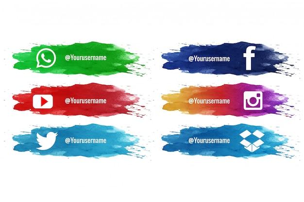 Collection d'aquarelle splash tiers inférieur des médias sociaux