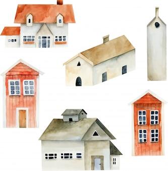 Collection d'aquarelles anciennes maisons européennes
