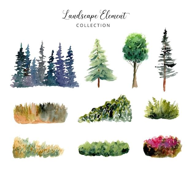 Collection d'aquarelles d'éléments de paysage