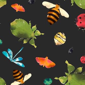 Collection d'aquarelles d'insectes