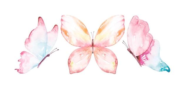 Collection d'aquarelles de papillons volants.