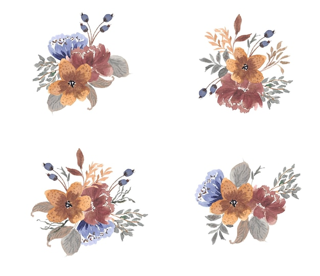 Collection d'aquarelles rustiques florales séchées d'automne
