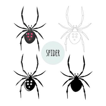 Collection d'araignées d'images graphiques isolées sur fond blanc vector design plat