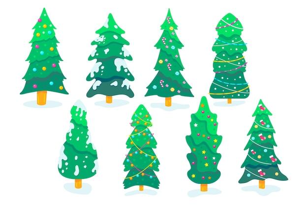 Collection d'arbre de noël au design plat