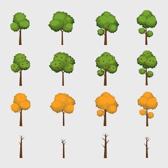 Collection d'arbres de dessin animé de quatre saisons. printemps été automne hiver