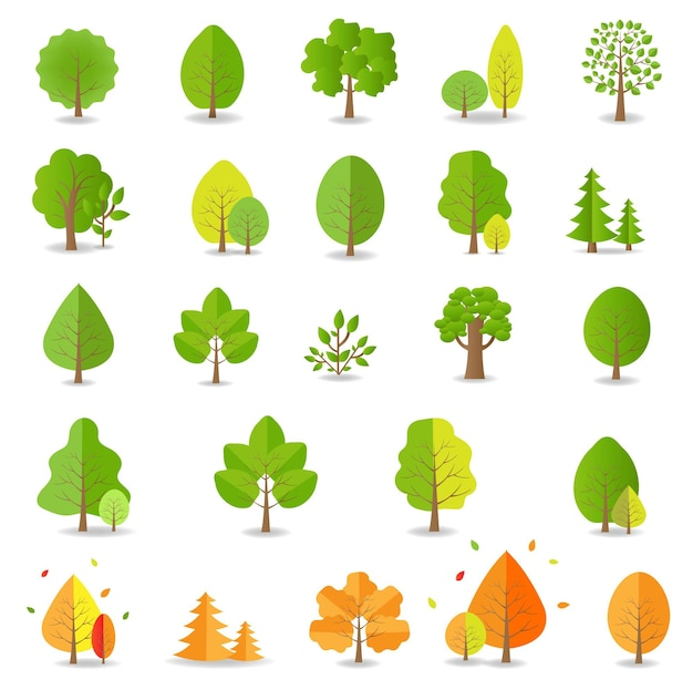 Collection d'arbres isolé sur fond blanc