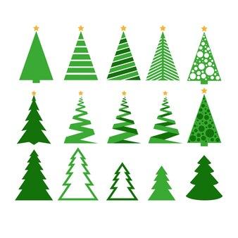 Collection d'arbres de noël abstraits modernes