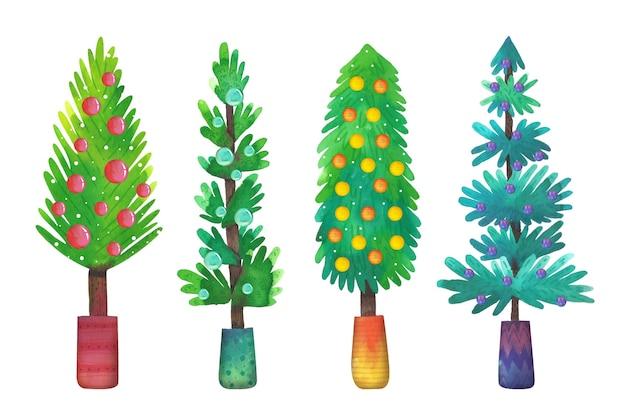 Collection d'arbres de noël aquarelle