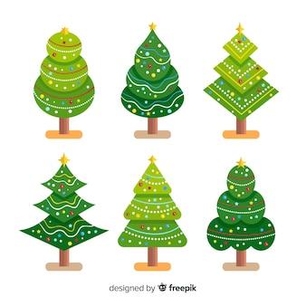 Collection d'arbres de noël au design plat