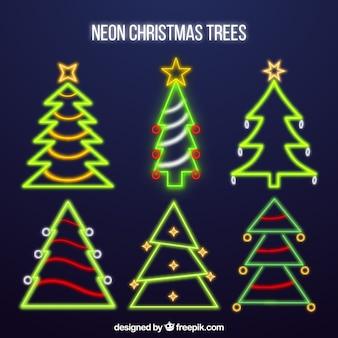 Collection d'arbres de noël au néon