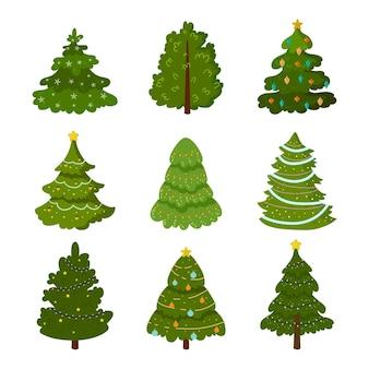 Collection d'arbres de noël design plat
