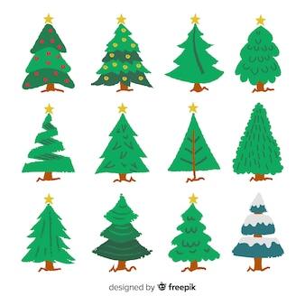 Collection d'arbres de noël dessinés à la main