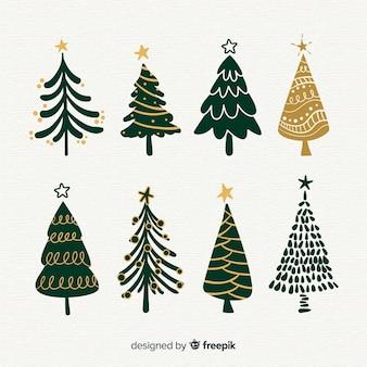 Collection d'arbres de noël de style dessinés à la main