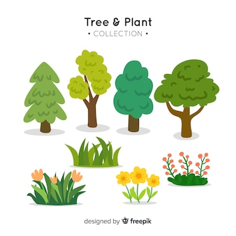 Collection d'arbres et de plantes