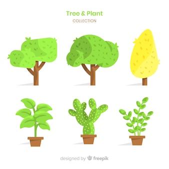 Collection d'arbres et de plantes