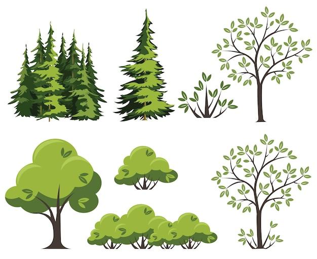 Collection d'arbres verts. éléments pour votre conception, illustration, sites et présentations.