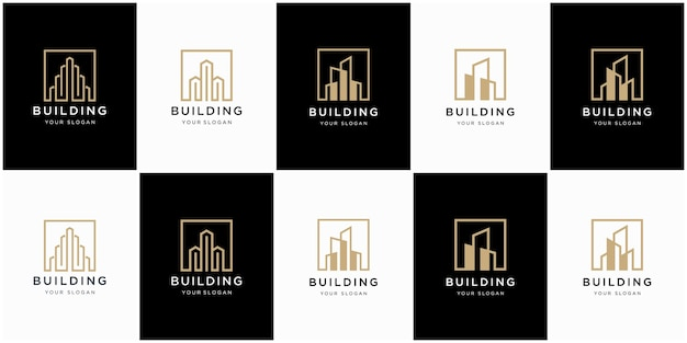 Collection d'architecture de bâtiment, symboles de conception de logo immobilier
