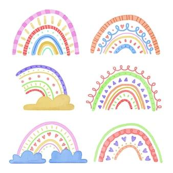 Collection d'arcs-en-ciel colorés abstraits avec des nuages