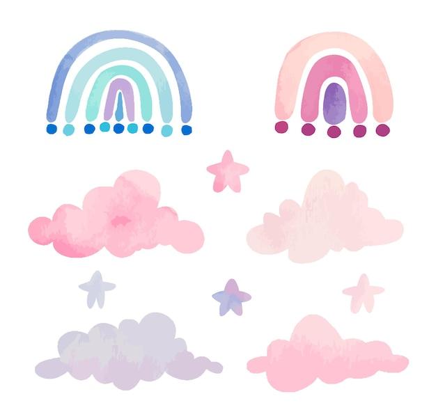 Collection d'arcs-en-ciel et de nuages roses à l'aquarelle