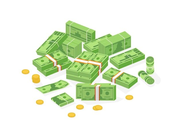 Collection d'argent liquide ou de monnaie isométrique