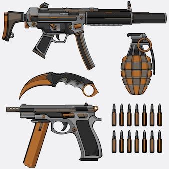 Collection D'armes Militaires Vecteur Premium