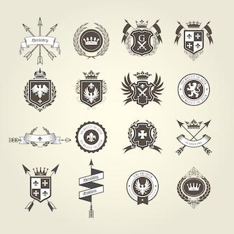 Collection d'armoiries - emblèmes et blasons, blason héraldique avec flèches arc