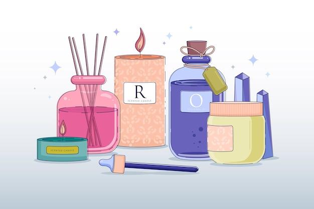 Collection d'aromathérapie dessinée à la main