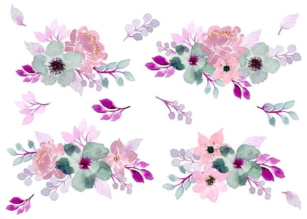 Collection d'arrangement aquarelle floral doux