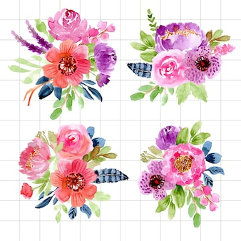 Collection d'arrangement aquarelle floral