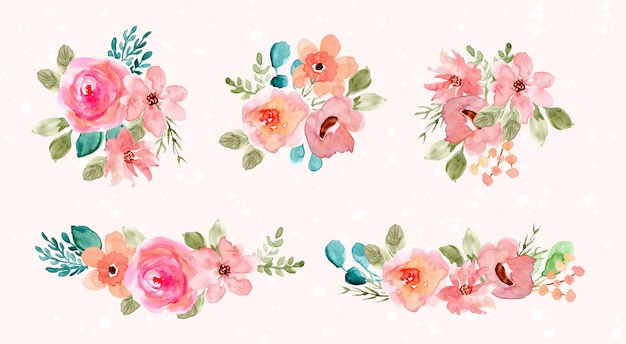 Collection d'arrangement de fleurs aquarelle rose vert