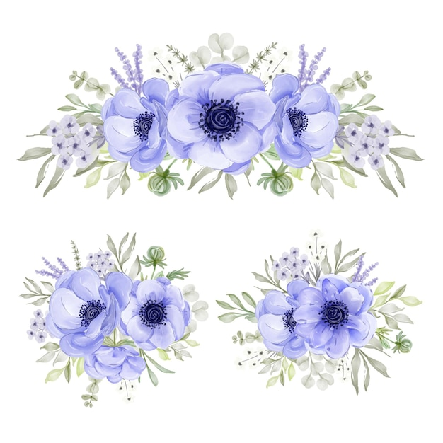 Collection d'arrangements de fleurs aquarelle violet anémone