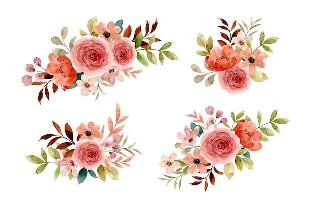 Collection d'arrangements de fleurs roses à l'aquarelle