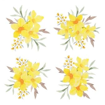 Collection d'arrangements de fleurs tropicales aquarelle