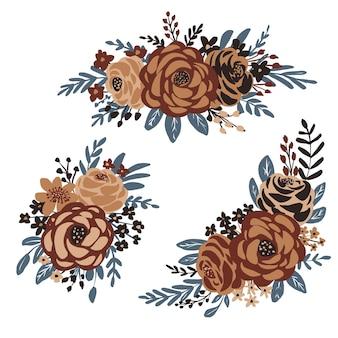 Collection d'arrangements floraux design plat dessinés à la main