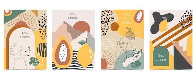 Collection d'arrière-plan contemporain avec femme, forme, arc-en-ciel. illustration vectorielle modifiable pour site web, invitation, carte postale et affiche