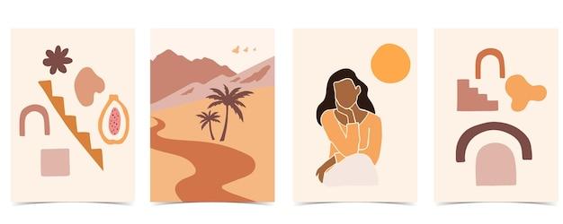 Collection d'arrière-plan contemporain avec femme, montagne, soleil. illustration vectorielle modifiable pour site web, invitation, carte postale et affiche