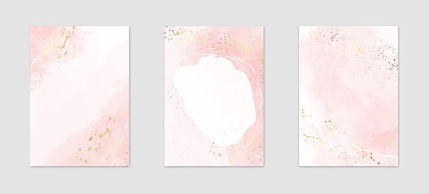 Collection d'arrière-plans aquarelle rose poussiéreux abstraite