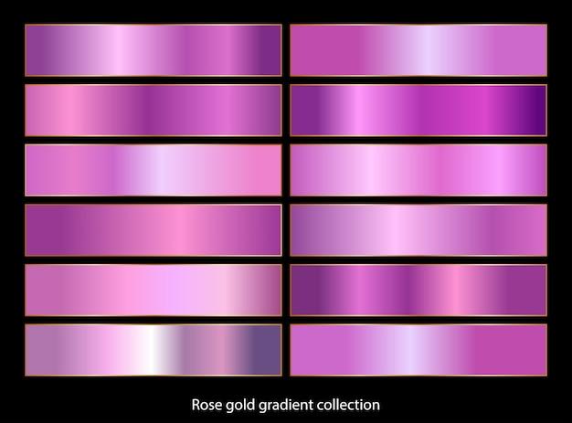 Collection d'arrière-plans dégradé or rose.