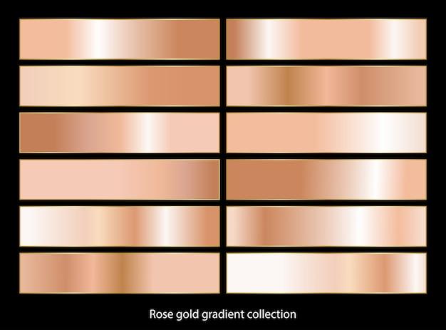 Collection d'arrière-plans dégradés en bronze doré rose.