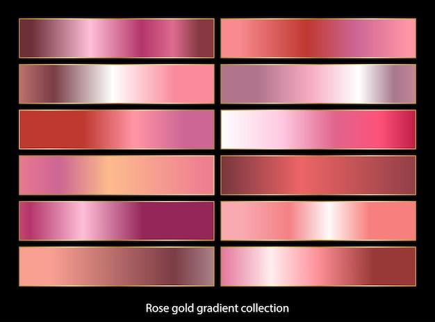 Collection d'arrière-plans dégradés en or rose. illustration vectorielle.