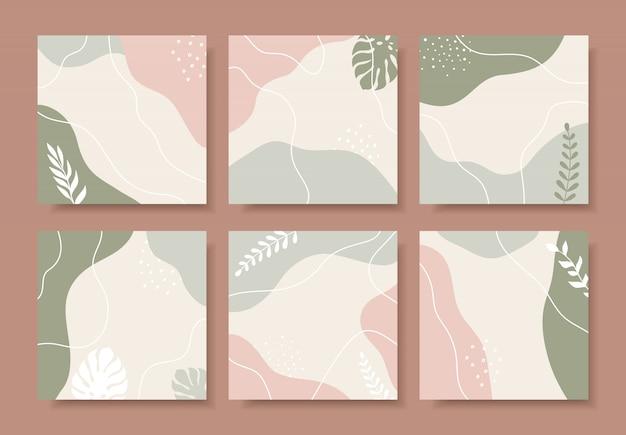 Collection d'arrière-plans modernes abstraits dans des couleurs pastel.