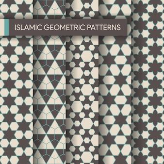 Collection d'arrière-plans de motifs géométriques islamiques sans soudure